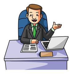 Succes Business man on desk