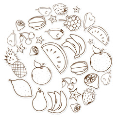 fruits and vegetables Object Hand Drawn Sketch Doodle