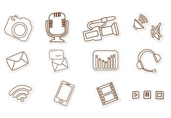 Audio Visual Media Hand Drawn Sketch Doodle