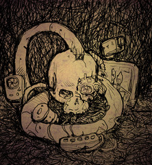 Grunge Skull in Cyberpunk Style