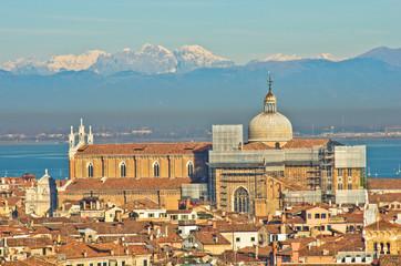 Telephoto aerial view of Venice from San Giorgio Maggiore church