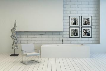 Modern white bathroom with brick and parquet