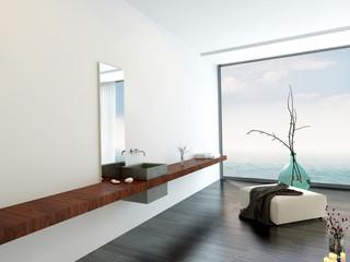 Wall-mounted hand basin in a minimalist bathroom