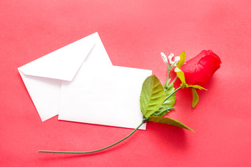 Romantic note and rose