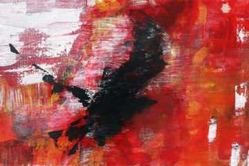 abstract painting on canvas, black raven is flying into the red,
