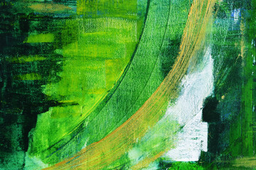 abstract painting on canvas, main color green