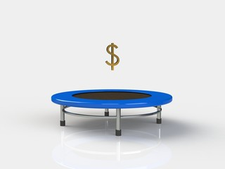 Dollar Jumping on a trampoline on a white background