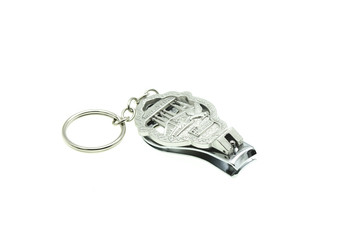 stainless steel nail clippers isolated on white background
