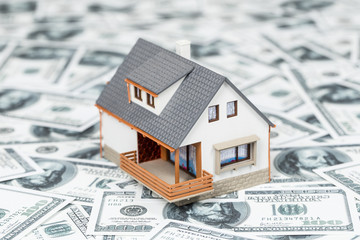 Beautiful house standing on dollar bills. Home expenses concept