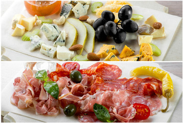 Assorted cheese and meat