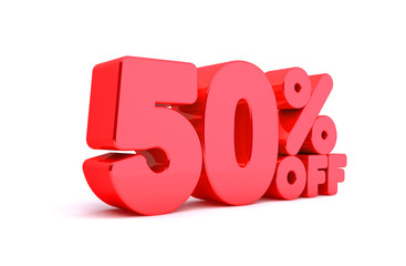 50% Off 3D Render Red Word Isolated in White Background