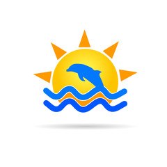dolphin with sun icon color vector