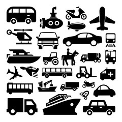 Transportation icons set great for any use. Vector EPS10.