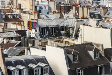 Paris, France. A view of city roofs from survvey gallery