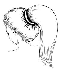 Long ponytail - line art