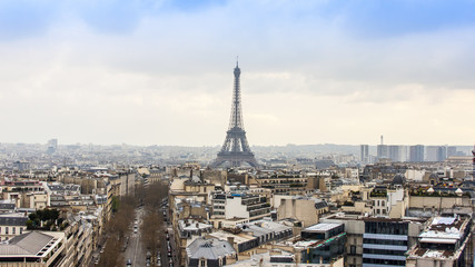 Paris, France. A city landscape with the Eiffel Tower.