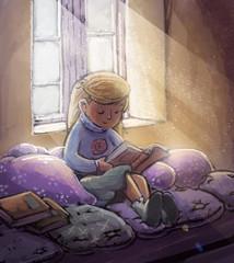 niña leyendo entre cojines