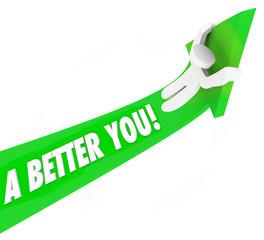 A Better You 3d Words Man Riding Green Arrow Self Improvement He