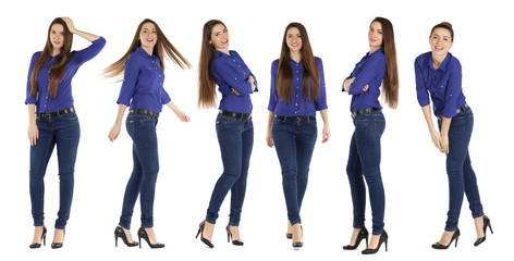 Collage, beautiful women in blue jeans and blue shirt