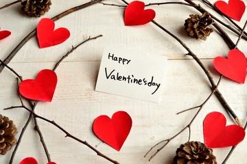 Valentines day message card with red heart paper cut out