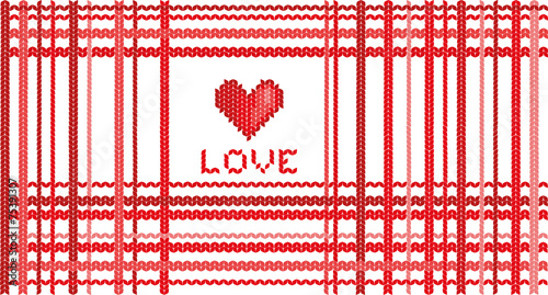 Heart And The Word Love With Knitting Patterns Stock Image And