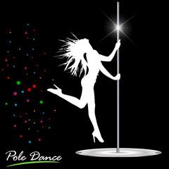 Silhouette of woman dancing a striptease, pole dance
