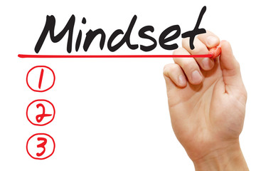 Hand writing Mindset List with red marker, business concept