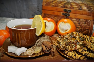 Tea with spices,fruits,sweets ,Valentine's Day in the kitchen