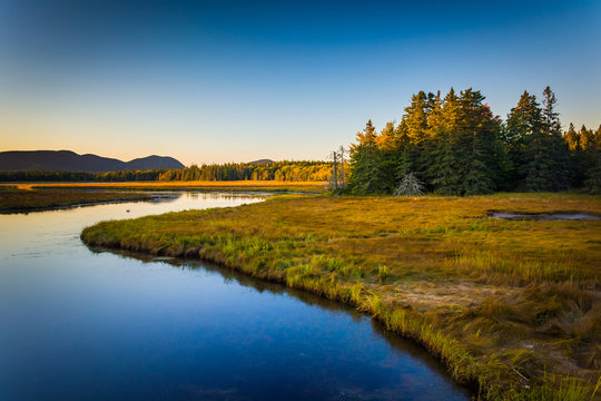 Evening light on a stream and mountains near Tremont, in Acadia