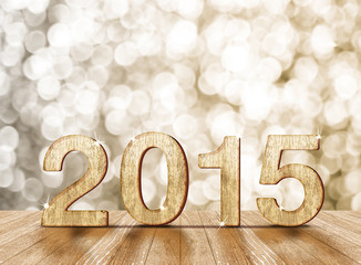 2015 year number in room with sparkling bokeh l and wooden floor