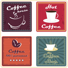 Set of coffee labels or icons in retro style for vintage design