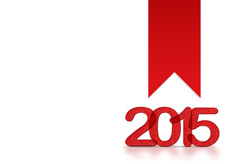 Red 2015 year number with ribbon on white background