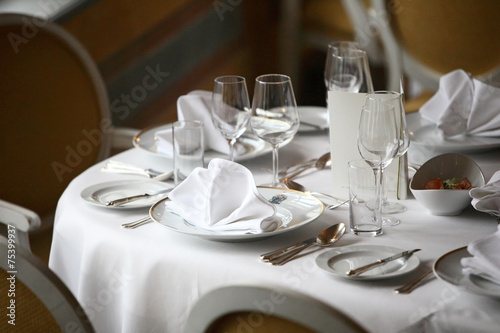 Restaurant table set up, starter, fine dining table, posh\