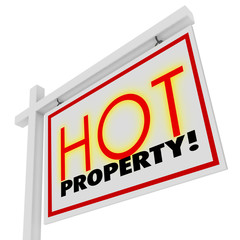 Hot Property Home House for Sale Real Estate Building Sign
