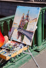Artist paint Church of the Savior on Spilled Blood