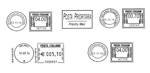 set of dark italian postmarks