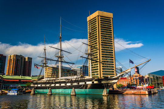 The USS Constellation and buildings at the Inner Harbor in Balti