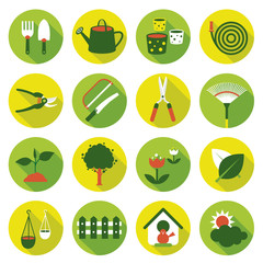 Flat icons set : Garden Object