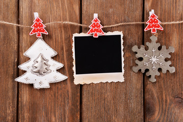 Blank photo frame and Christmas decor