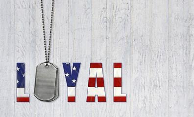 military dog tags with loyal flag