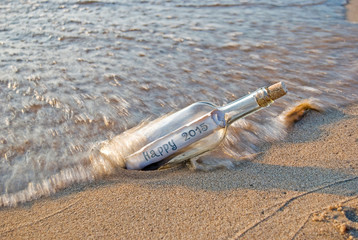 New Year 2015 message in a bottle