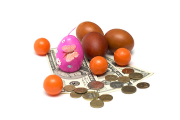 Happy Easter. Easter eggs and dollars. Photo.