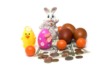Happy Easter. Easter bunny and money. Photo.