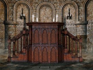 Drewniana mównica w starym kościele