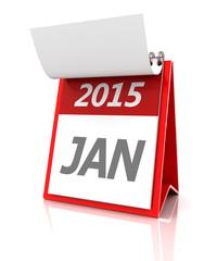 2015 January calendar, 3d render