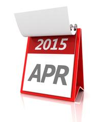2015 April calendar, 3d render