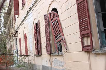 windows of abandoned hospital