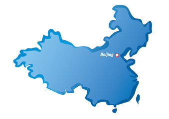 Vector map of China and Beijing
