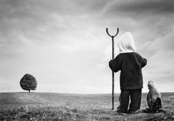 Surreal artistic photomanipulation of a little boy