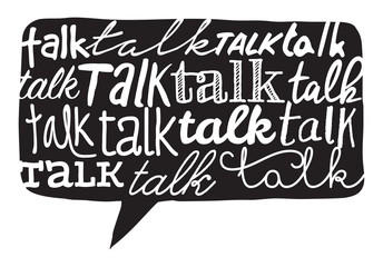 Talk word texture over speech bubble